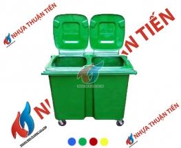 Xe gom rác composite treo đôi 660L
