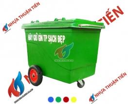 Xe gom rác composite bánh đặc 660L