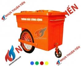 Xe gom rác composite bánh hơi 660L